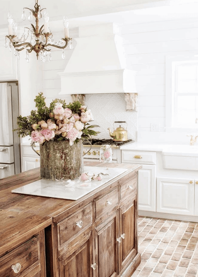 french style kitchen with peonies