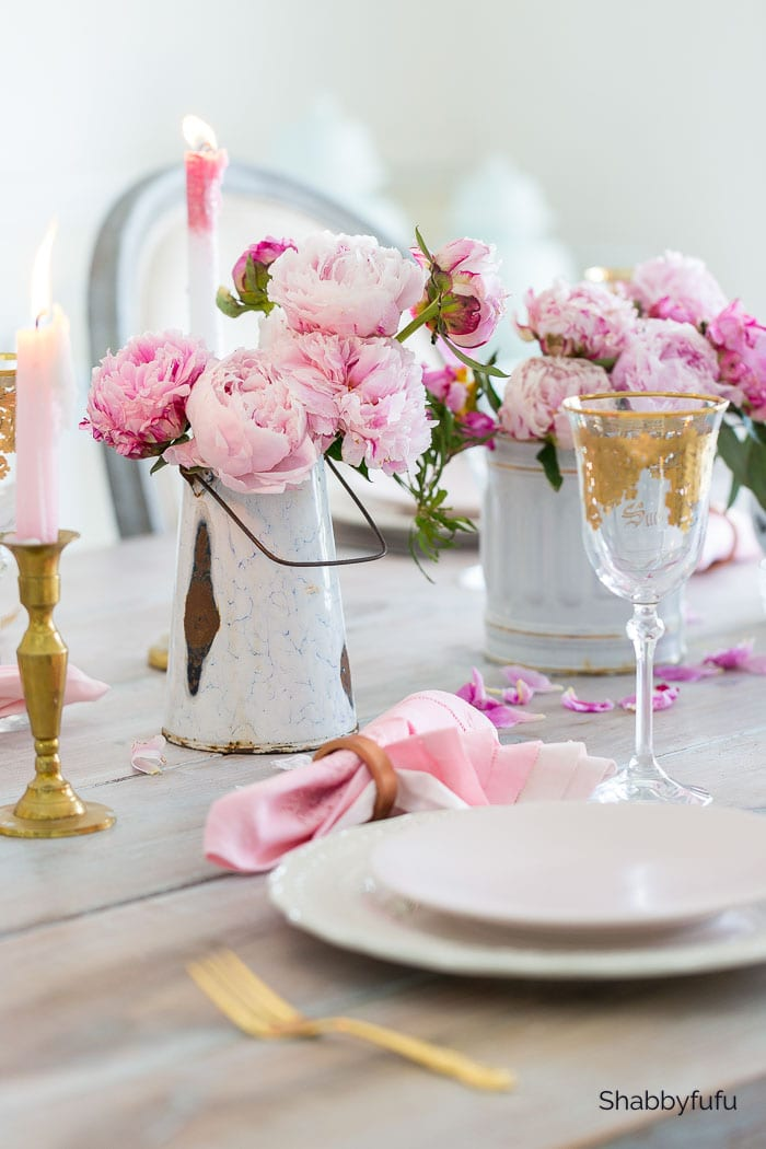 table for two french style with pink peonies