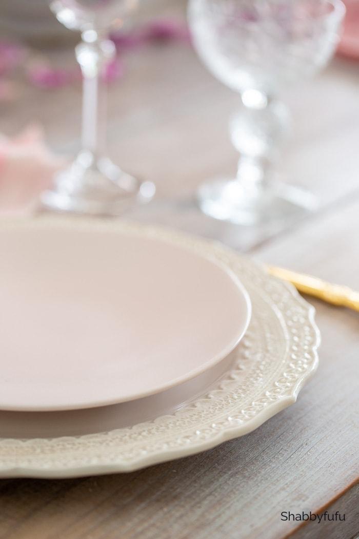 pale blush pink plates