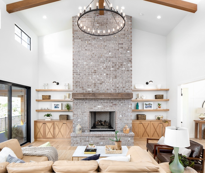 Living room modern mountain home tour