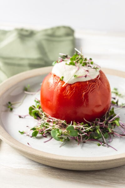 rice stuffed tomatoes with cashew cream sauce