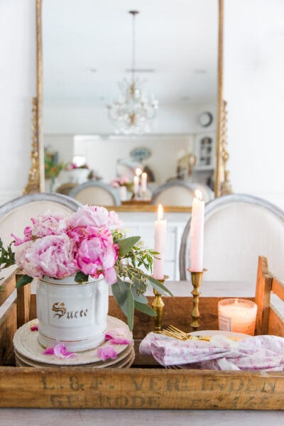 pink peonies french style table