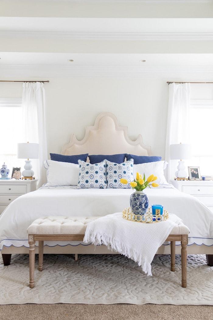 blue master bedroom transitional home decor