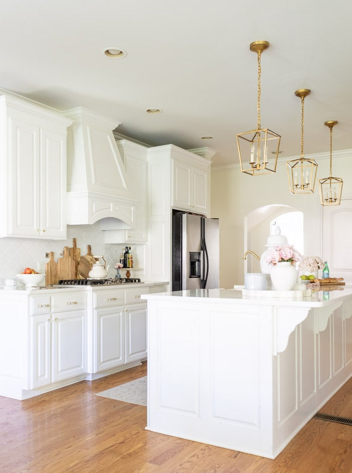 white kitchen in a transitional home