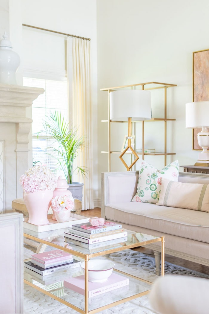 modern transitional decor living room with blush pink