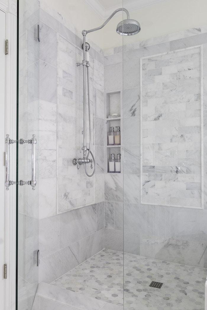 large modern white marble shower