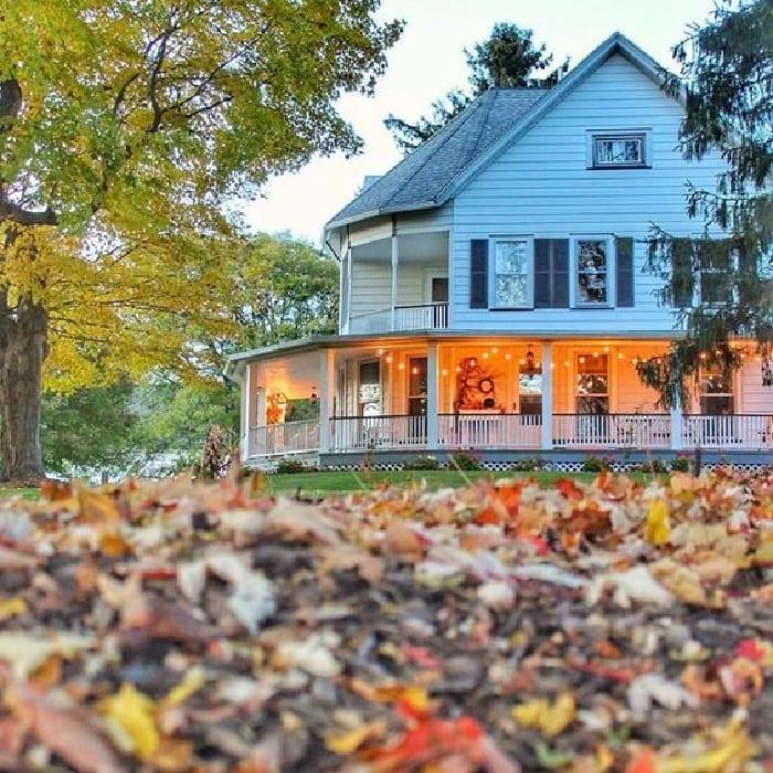 white farmhouse exterior