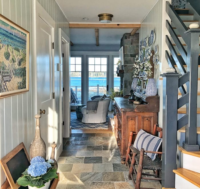 coastal home in Maine front entry