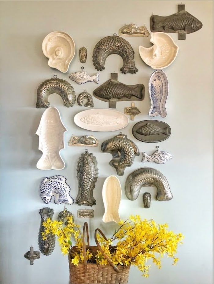 collection of antique fish molds