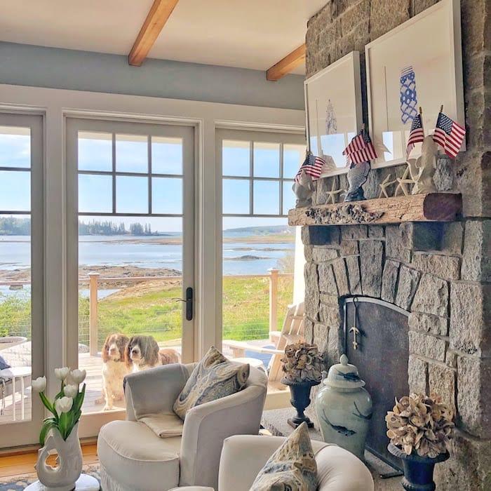stone fireplace coastal home in Maine