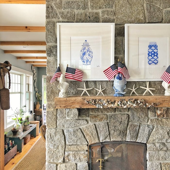 stone gas fireplace Molly in Maine