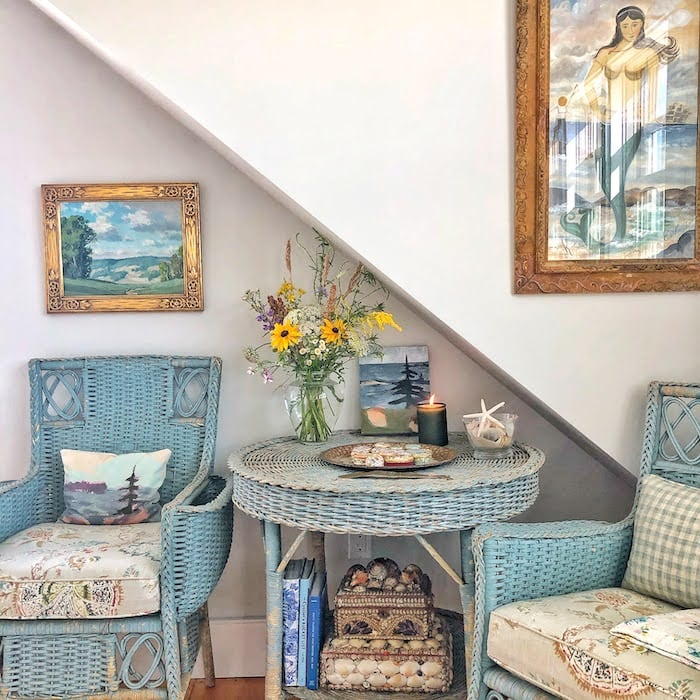 antique blue wicker chairs