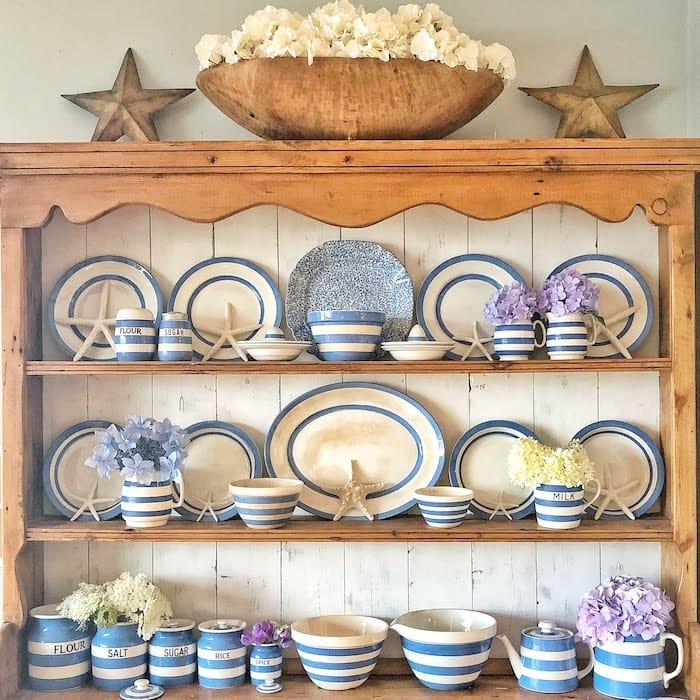 collection of cornishware dinnerware