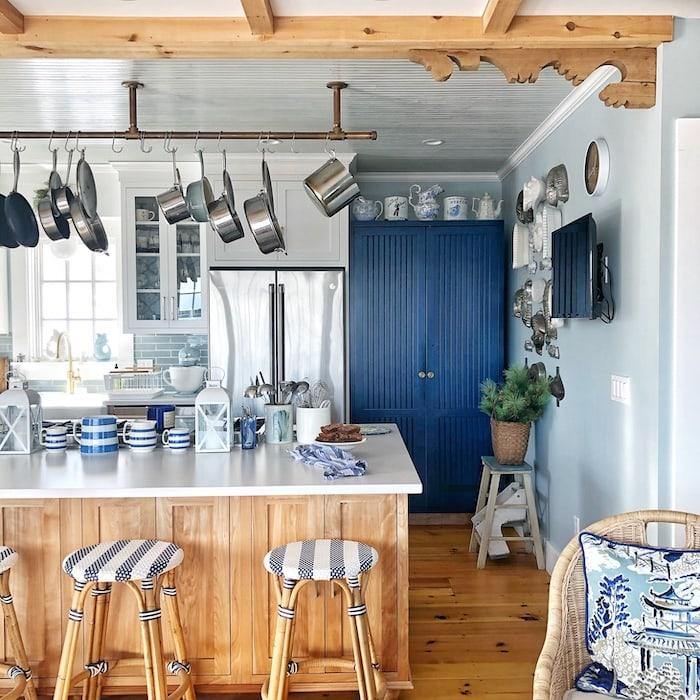 blue pantry cabinet coastal home