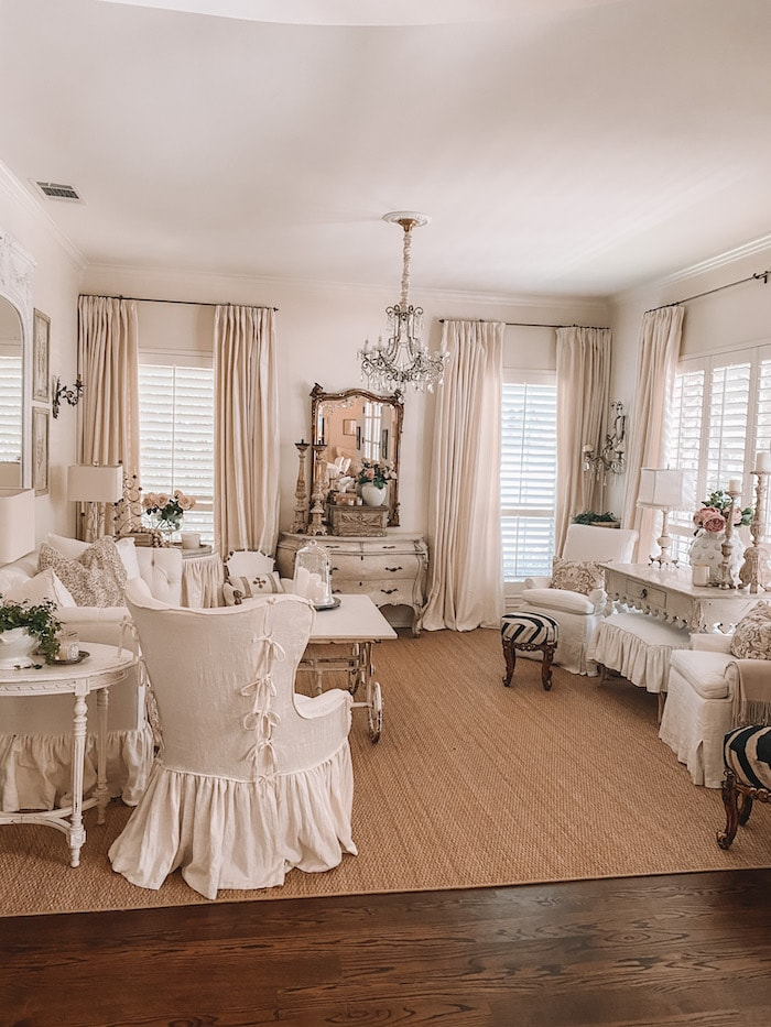 designer French chic home living room