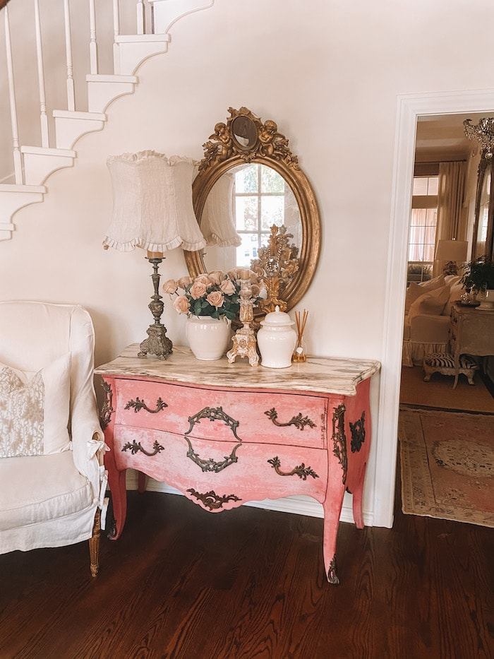 designer French chic home pink bombe chest