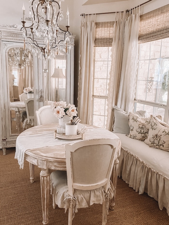french style elegant breakfast room with chandelier