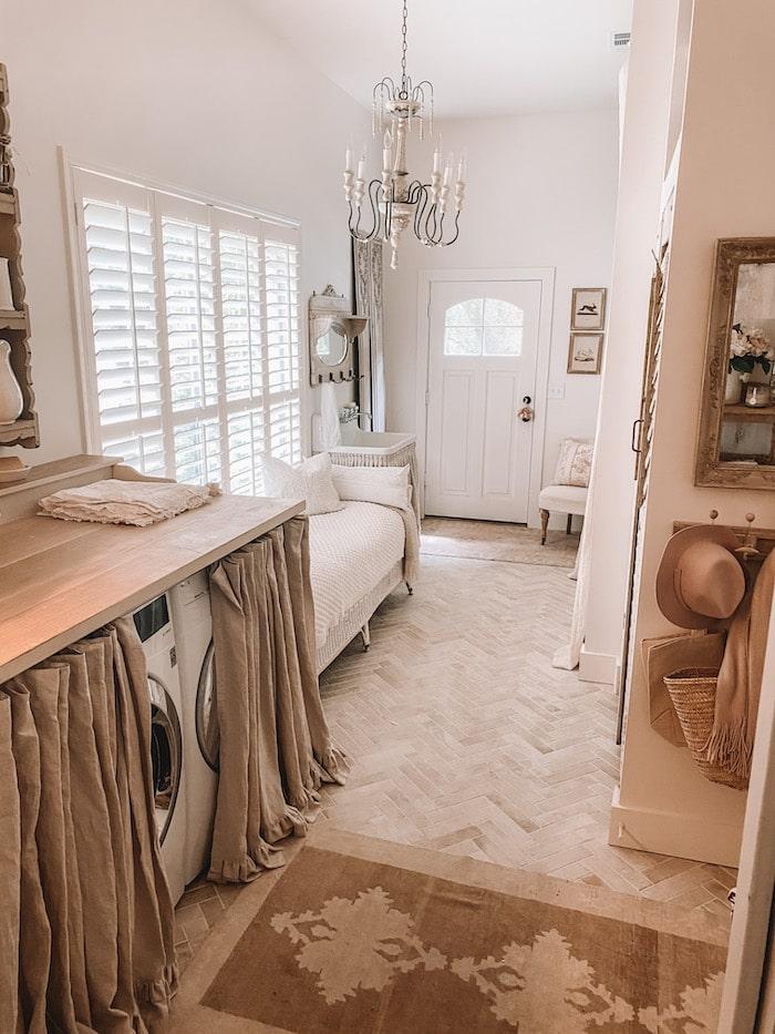 white designer laundry room