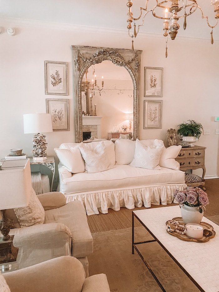 french mirror beautiful living room