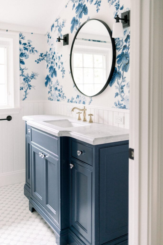 blue floral wallpaper powder room