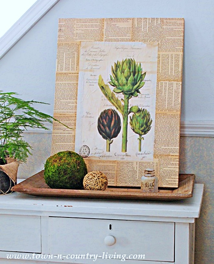 wall art print with three artichokes and book page background