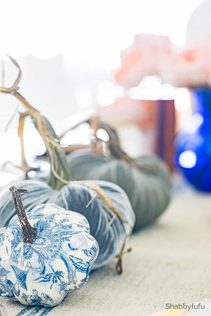 velvet pumpkins in shades of blue