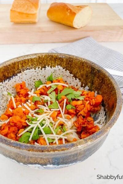 easy vegan lentil bolognese salad recipe