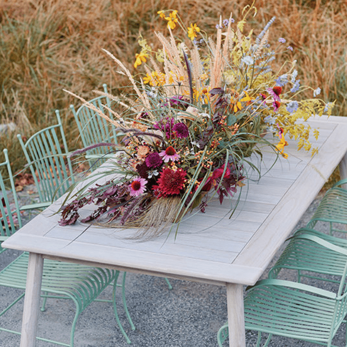 Fall dried flower table centerpiece