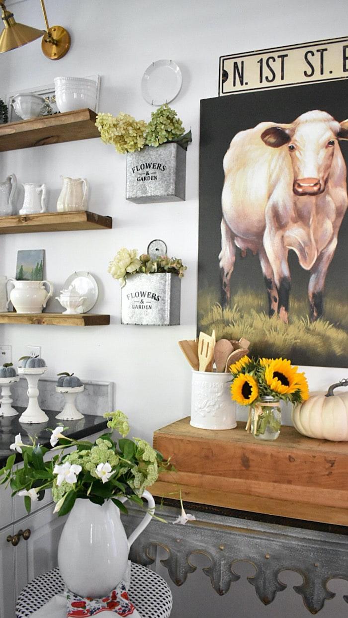 farmhouse kitchen with cow print