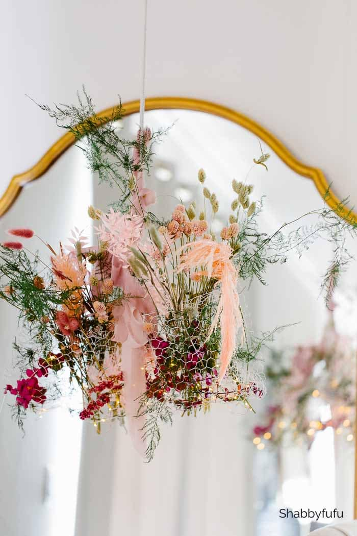 nightime dried flowers chandelier shabbyfufu.com