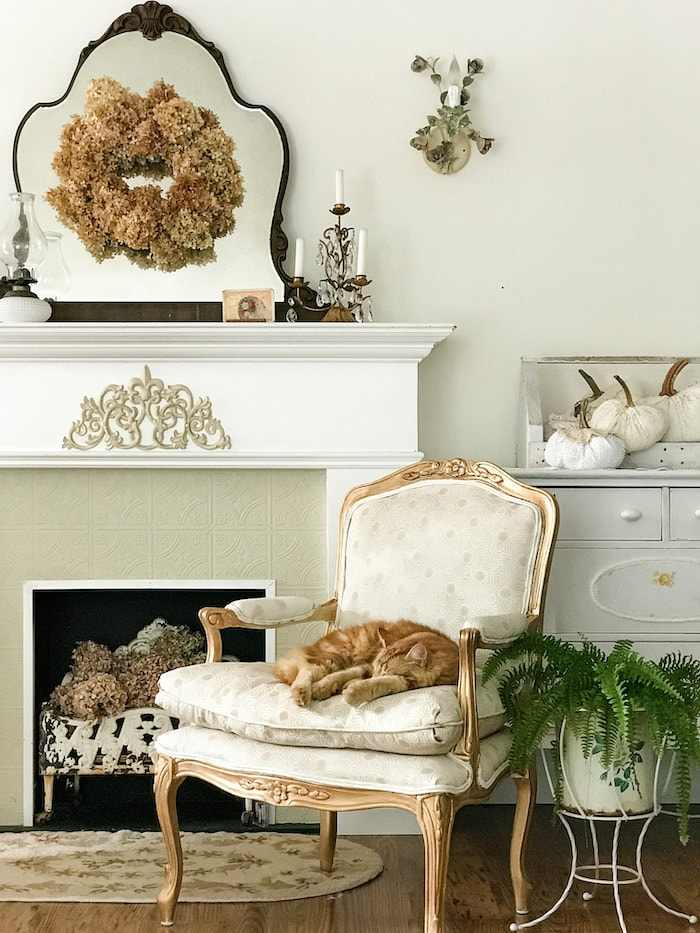 farmhouse chic home tour fireplace for fall