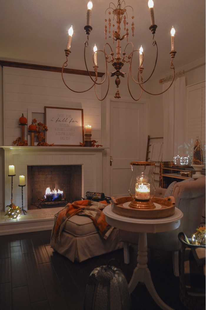 night time scene of fireplace area and candlelight