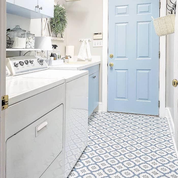 modern coastal style laundry room