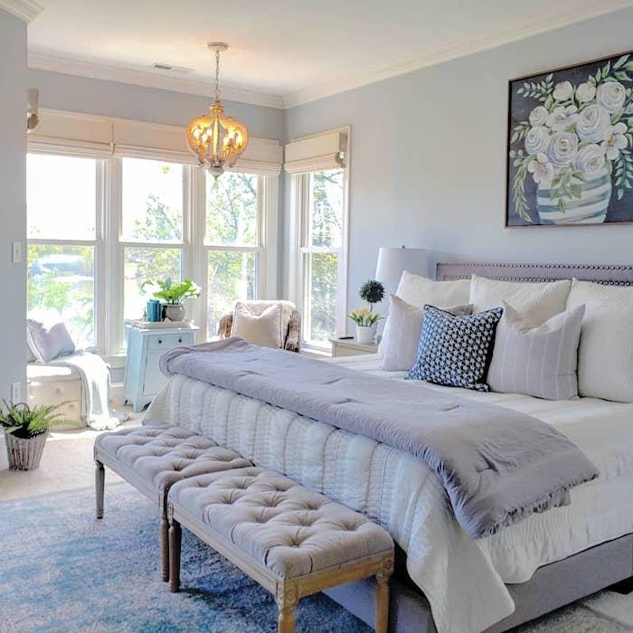 coastal farmhouse style bedroom