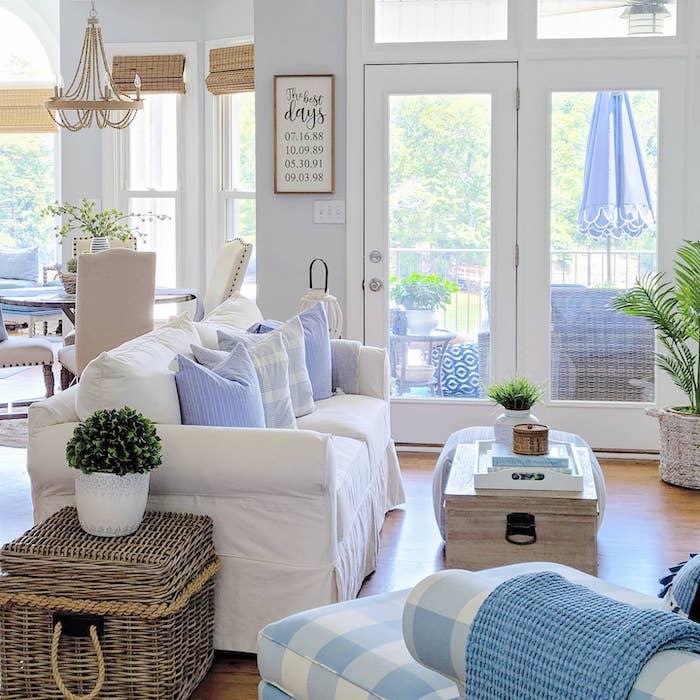 modern coastal farmhouse style family room