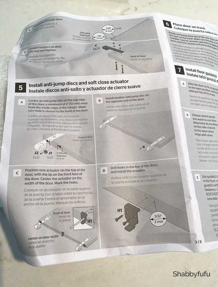 instruction manual for hanging a barn door