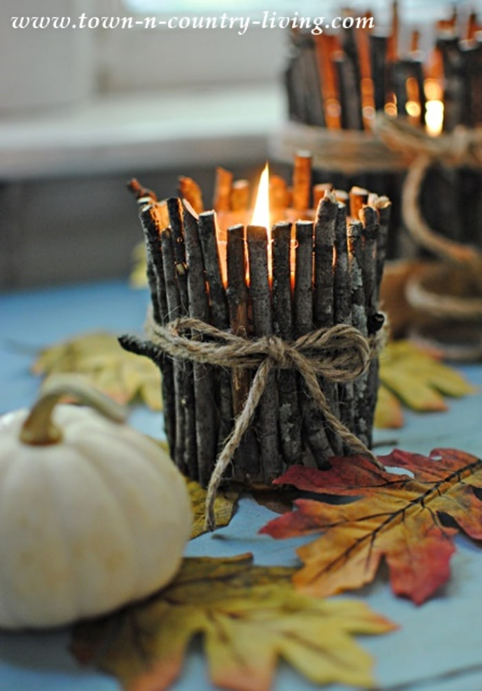 DIY Rustic Twig Candle