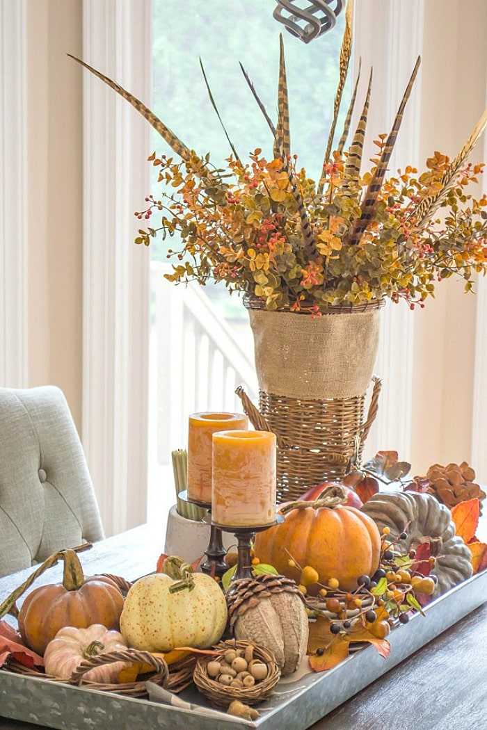 fall centerpiece in an oblong metal tray