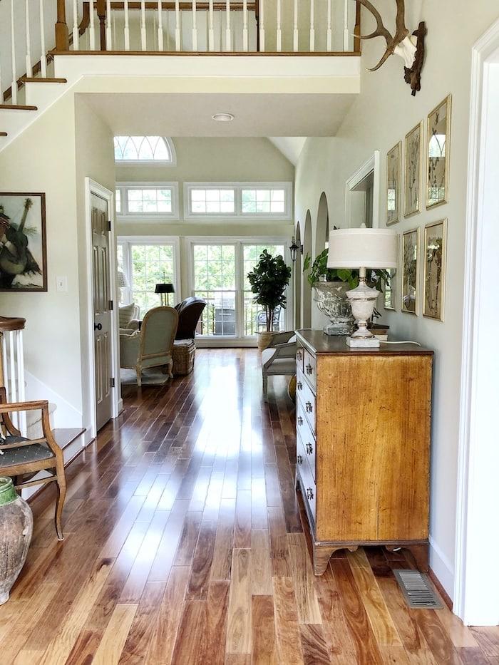 hardwood floors European farmhouse style home