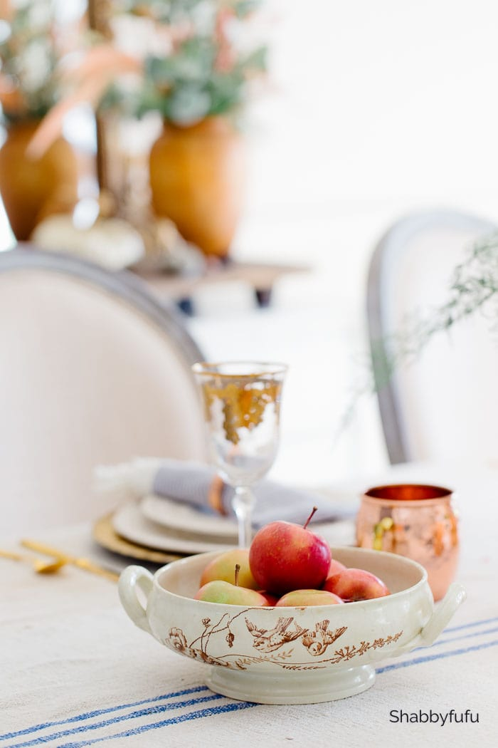 apples in a french bowl