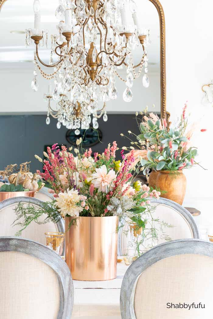 European rustic decor table setting with dried flowers