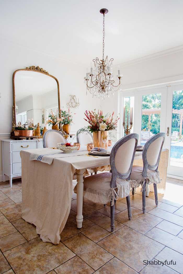 European rustic decor fall dining room