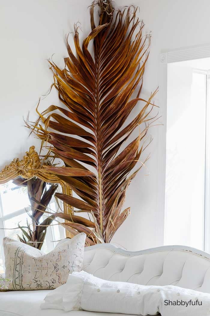French decor in the living room dried palm leaf