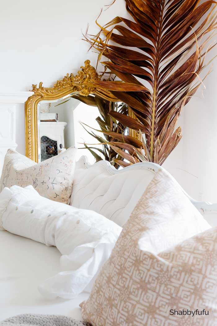 French decor in the living room dried palm leaves