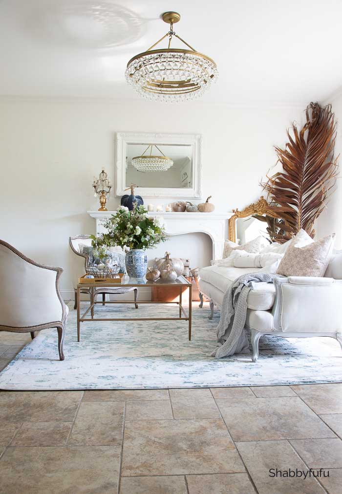French decor in the living room fall home tour shabbyfufu