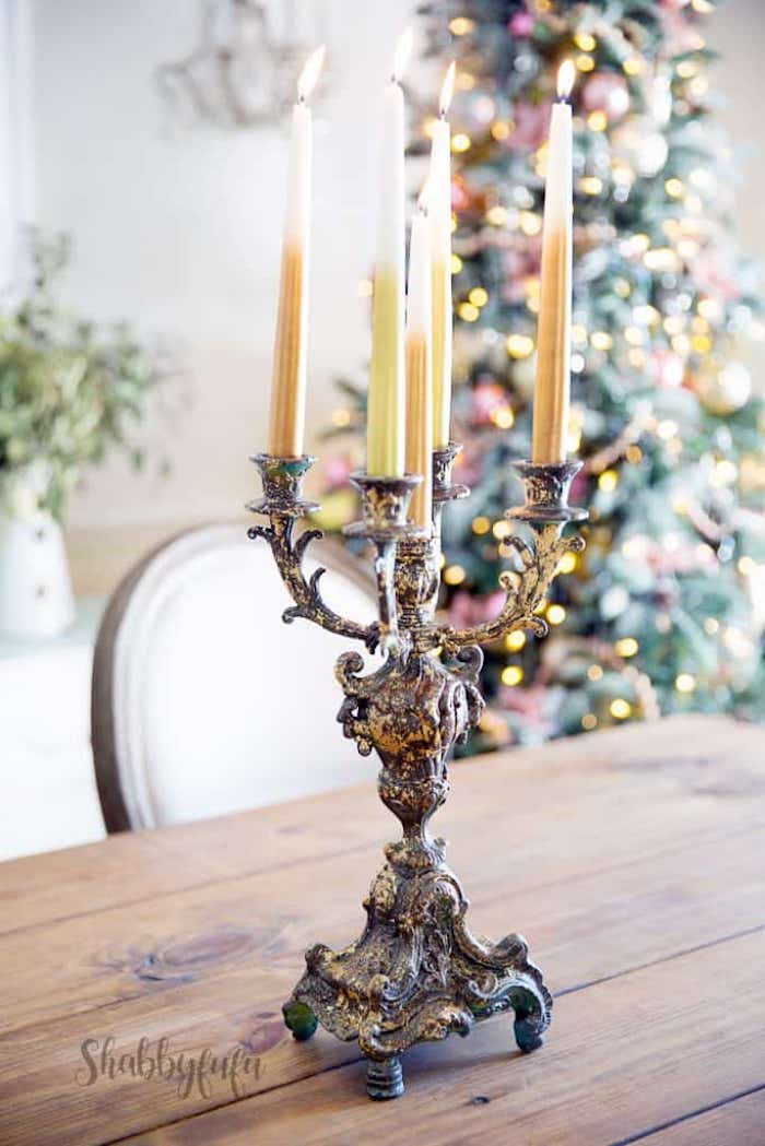 vintage candelabra with two toned candles