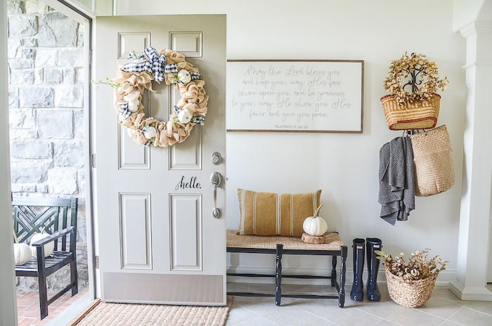 transitional style farmhouse entry foyer