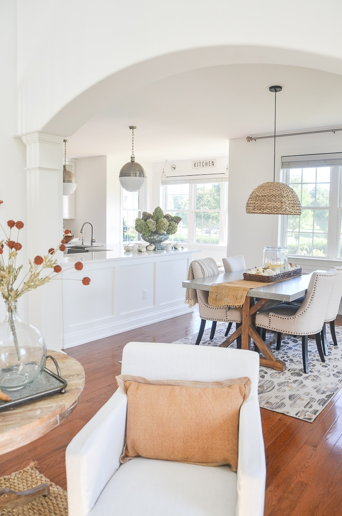 transitional style farmhouse open kitchen dining room