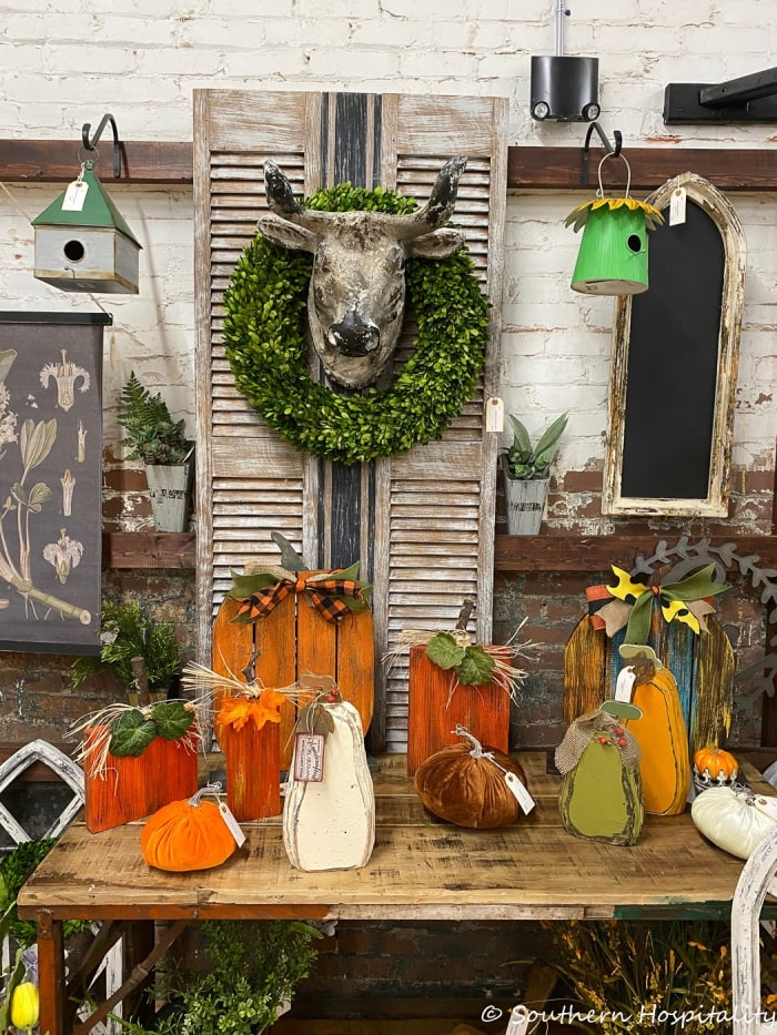 various farmhouse style decor items in a decorating store