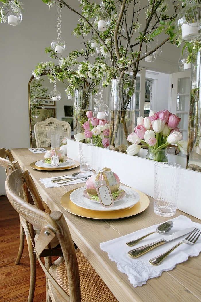 floral spring dining room French style home